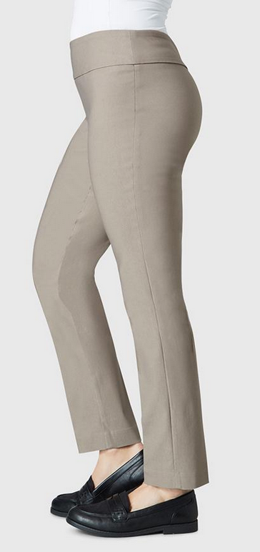 "Solid Magical Lycra 28"" Ankle Pant-mushroom-side"