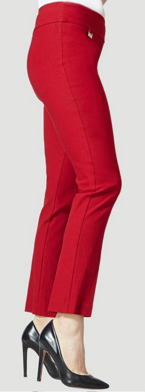 "Solid Magical Lycra 31"" Slim Pant-red-side"