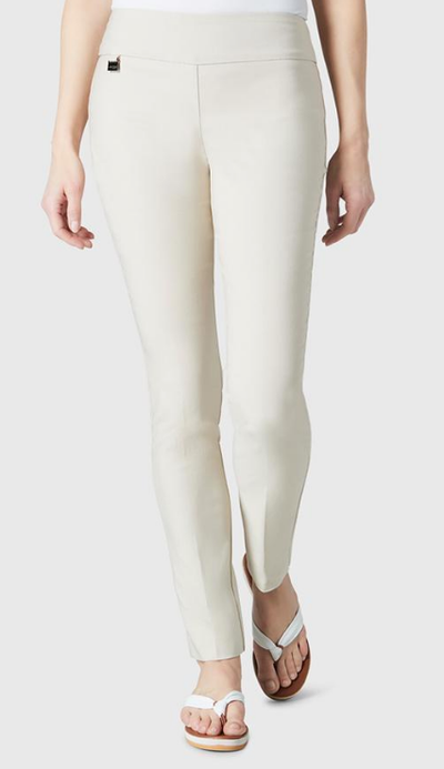 "Solid Magical Lycra 31"" Slim Pant_Beige_Front"