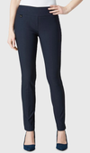 "Solid Magical Lycra 31"" Slim Pant_Navy_Front"