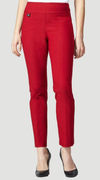 "Solid Magical Lycra 31"" Slim Pant_Red_Front"