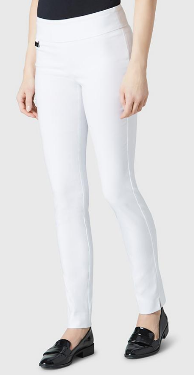 "Solid Magical Lycra 31"" Slim Pant_White_Front"