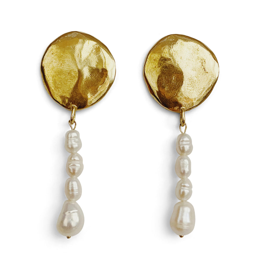 Terra Pearl Drop Earrings | Bronze