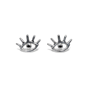 Cosmic Eye Studs | Silver + Black Diamond