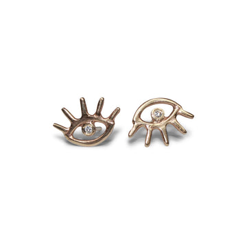 Cosmic Eye Studs | Gold + White Diamond