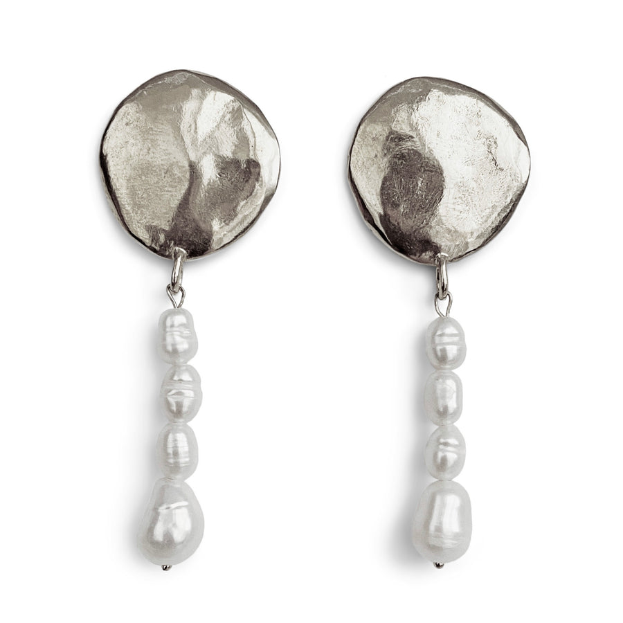 Terra Pearl Drop Earrings | Silver