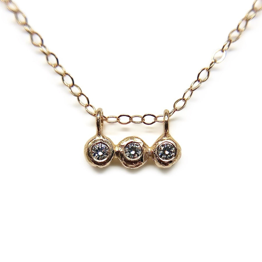 Puddle Trio Necklace | Gold + Moissanite