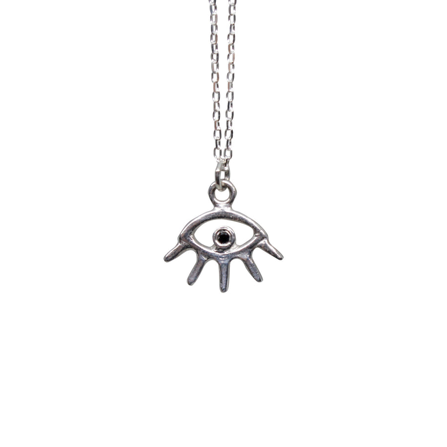 Cosmic Eye Necklace | Silver + Black Diamond
