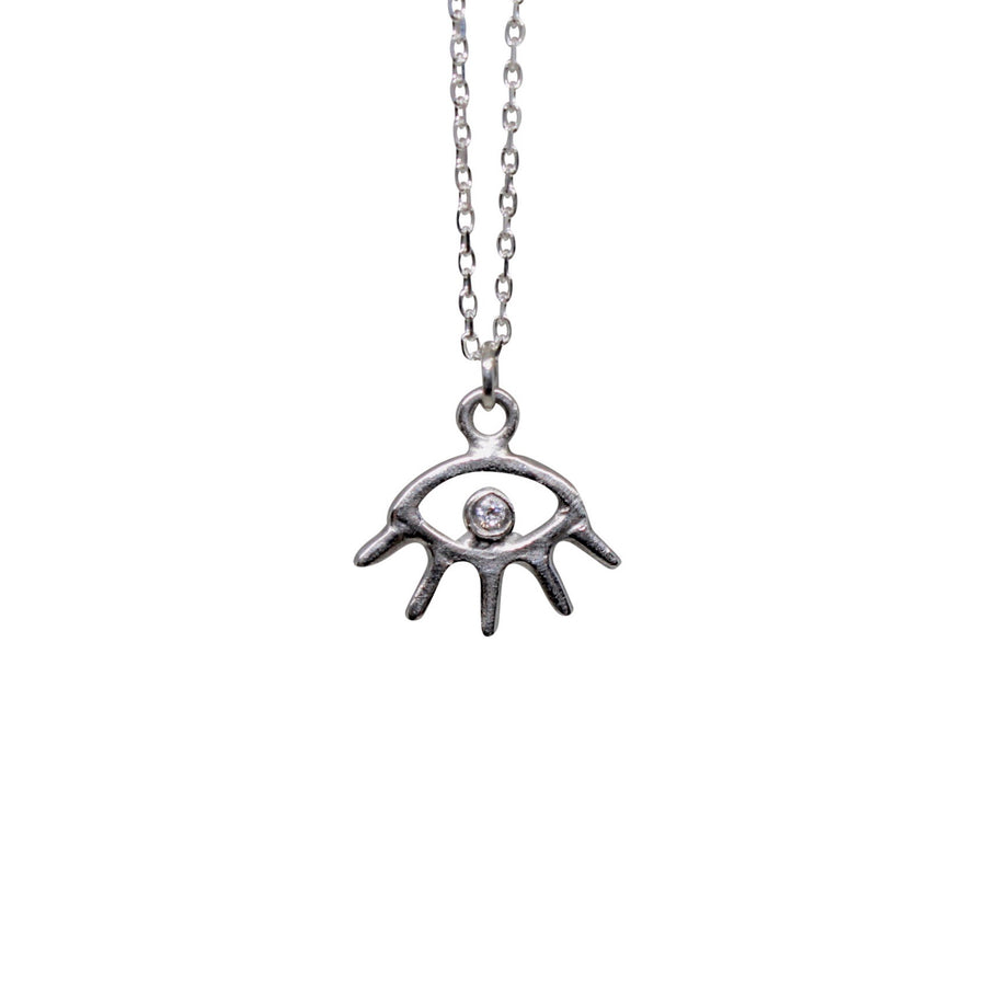Cosmic Eye Necklace | Silver + White Diamond