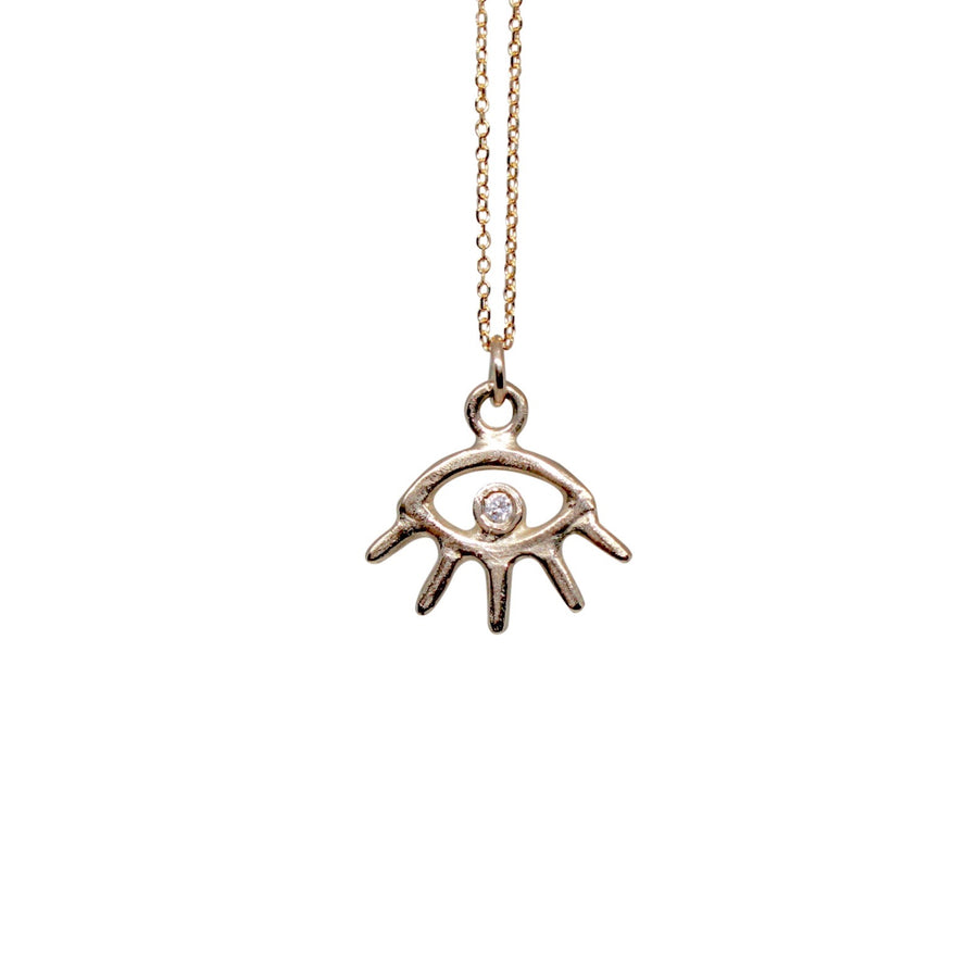 Cosmic Eye Necklace | Gold + White Diamond