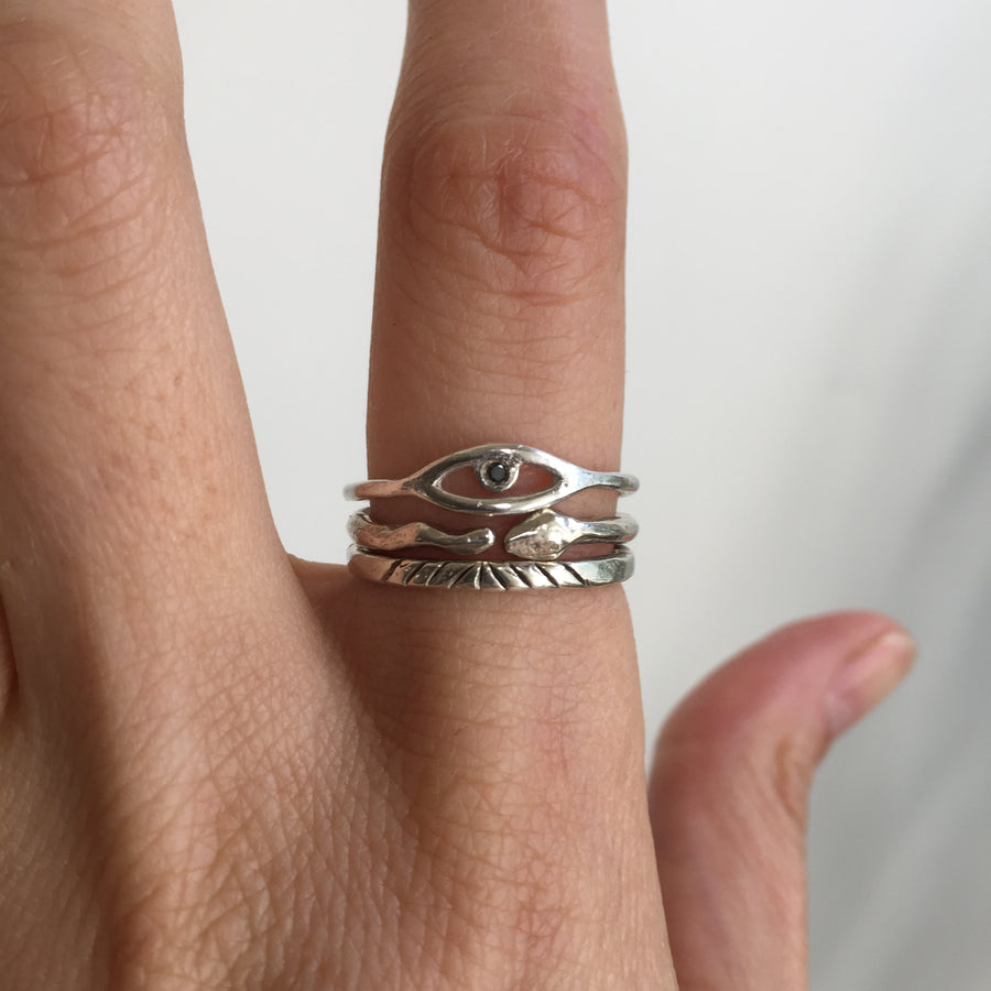 Cosmic Eye Ring |Silver + Black Diamond