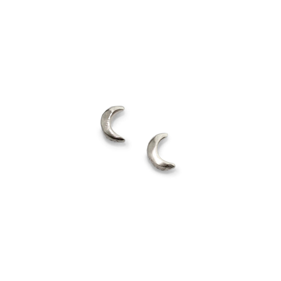 Tiny Moon Studs | Silver