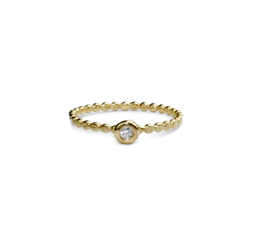 Wish Solitaire Ring | Gold + White Diamond