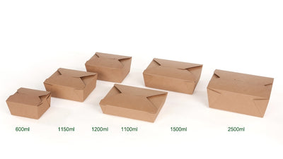 Brown cardboard takeaway boxes, 37oz (280 pcs.) - Naturally Chic