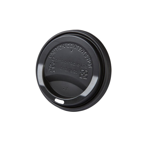 "Black bio coffee cup lids (CPLA) 3.5"" (1000 pcs.) - Naturally Chic"