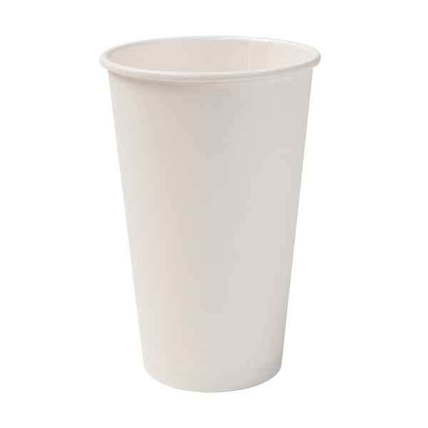 White Biodegradable Paper Cups, 16oz (1000 pcs.) - Naturally Chic