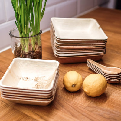 "Square palm leaf bowls, 10oz / 5"" (200 pcs.) - Naturally Chic"