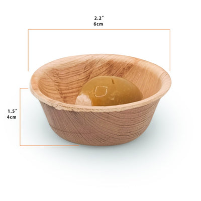 "Round palm leaf portion dip cups, 2.5"" / 1.5 oz (2000 pcs.) - Naturally Chic"
