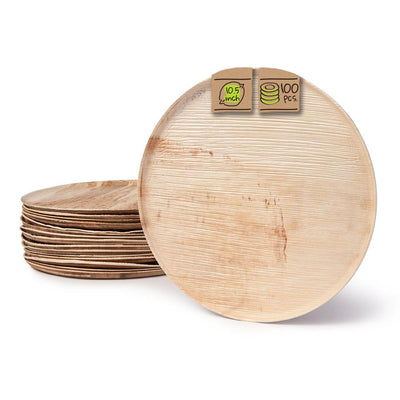 "Round palm leaf serving trays, 10.5 "" (100 pcs.) - Naturally Chic"