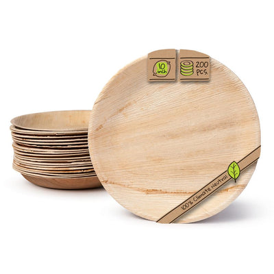 "Round palm leaf plates, 10"", deep (200 pcs.) - Naturally Chic"