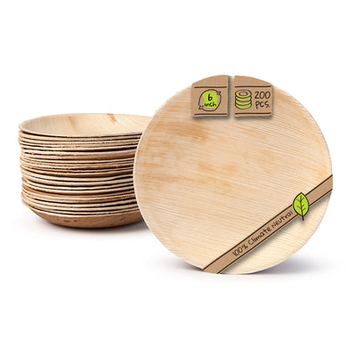 "Round palm leaf plates, 6"" (200 pcs.) - Naturally Chic"