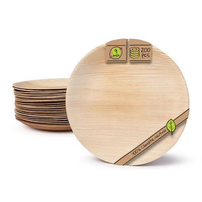 "Round palm leaf plates, 9"" (200 pcs.) - Naturally Chic"
