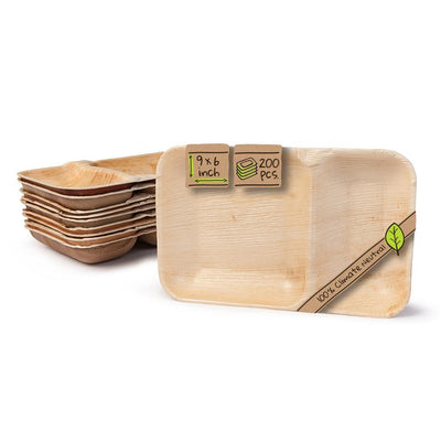 "Rectangle palm leaf plates, 2 compartments,  9""x6"" (200 pcs.) - Naturally Chic"