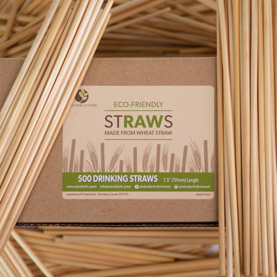 "Biodegradable Raw Straws, 7.5"" (10,000 pcs.) - Naturally Chic"