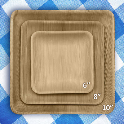 "Square palm leaf plates, 10"" (200 pcs.) - Naturally Chic"