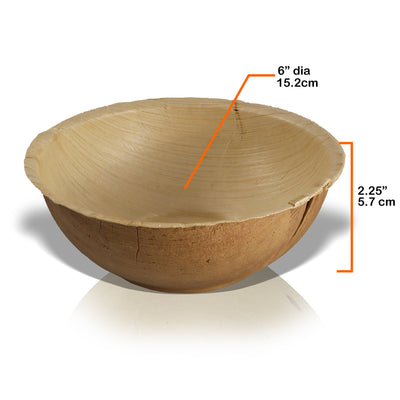"Round palm leaf bowls, 6"" / 14 oz, lid available (200 pcs.) - Naturally Chic"