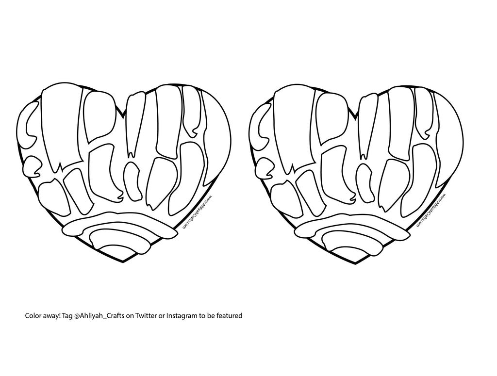 Double Concha Heart Coloring Page