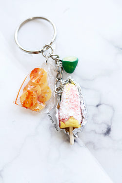 MIni elote with chicharrones and lime. Elotero style keychain. Handmade. Cheese and Corn