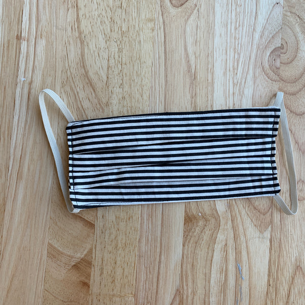 Black and White Pinstripe Face Mask