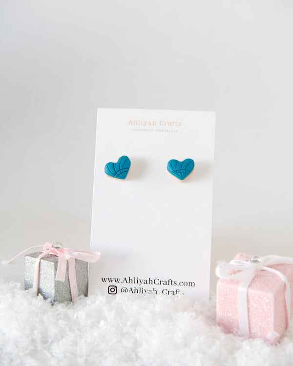 Heart Shaped Concha/ Pan Dulce Earring Studs / Mexican Sweet Bread