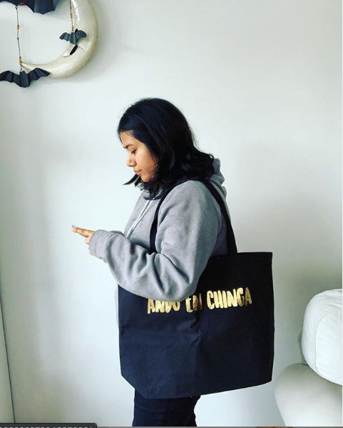 Ando En Chinga Large Canvas Tote Bag