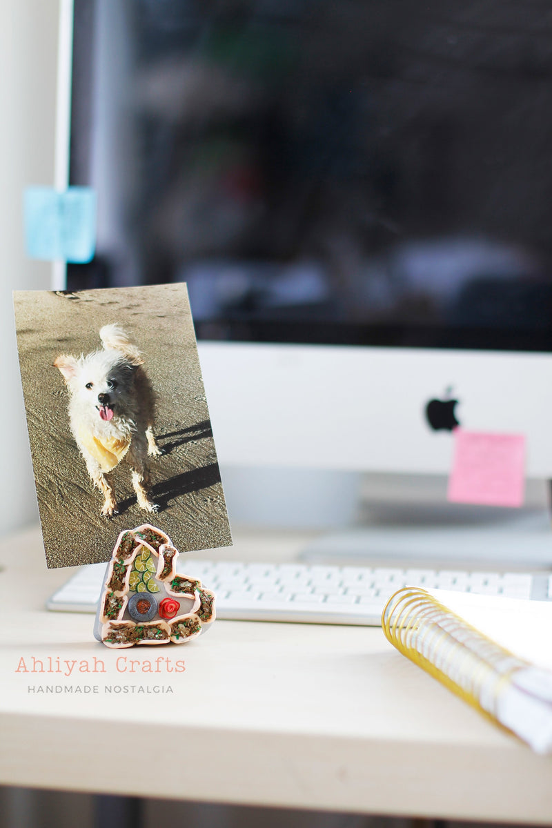 Taquero Mucho Photo Holder with Dog Picture. Placed on work desk. Herat shaped taco platter. handmade