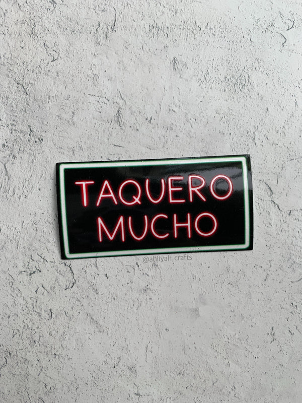 Taquero Mucho Neon Light Sticker