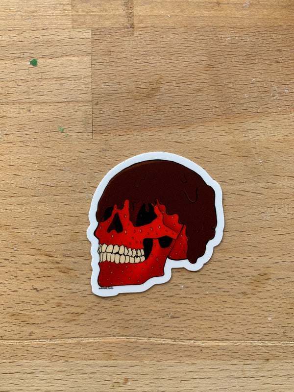 Chocolate Covered Strawberry Skull Sticker