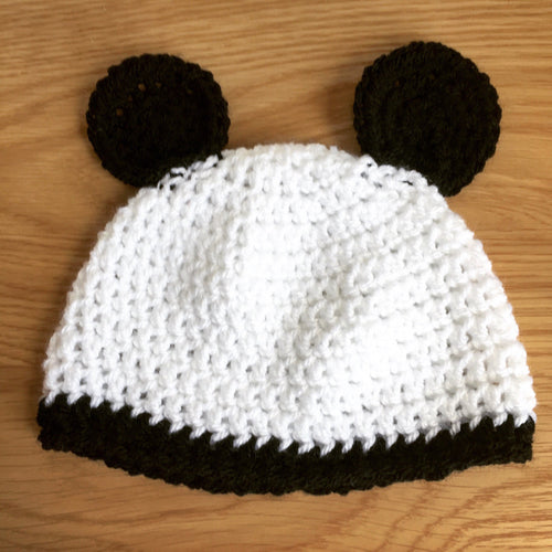 Winter Panda Hat made to order; Baby, Child & Adult Crochet Beanie Hat Panda ears; Unisex Crochet Hat; novelty winter hat