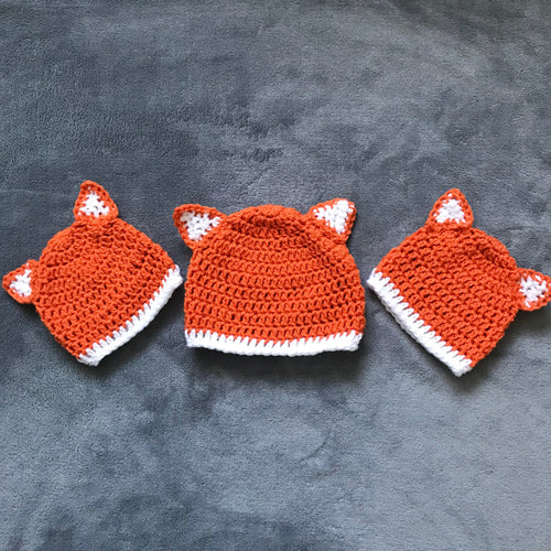 Winter Fox Hat made to order; Baby, Child & Adult Crochet Beanie Hat Fox ears; Unisex Crochet Hat; novelty winter hat