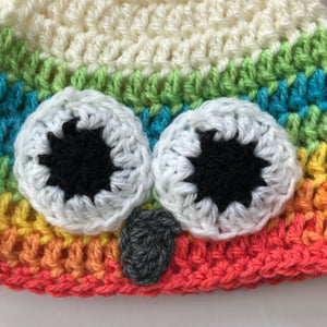 Rainbow Owl Hat; Baby and Child Crochet Beanie Hat owl face; Gender Neutral Crochet Hat