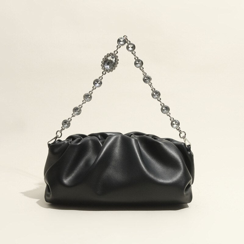 Black Leather Pouch with Strap Up