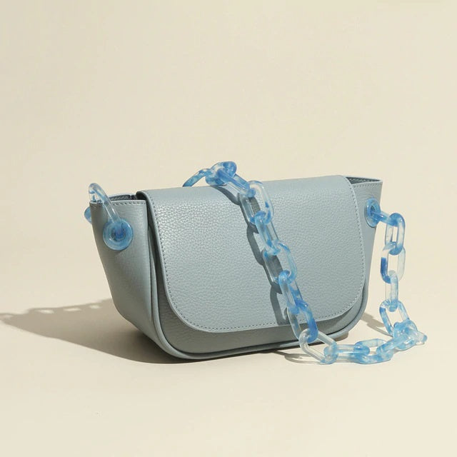 Blue Leather Bag with Blue Chain