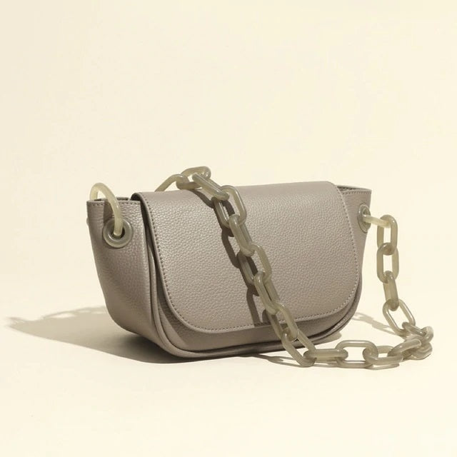 Gray Leather Bag with Gray Chain