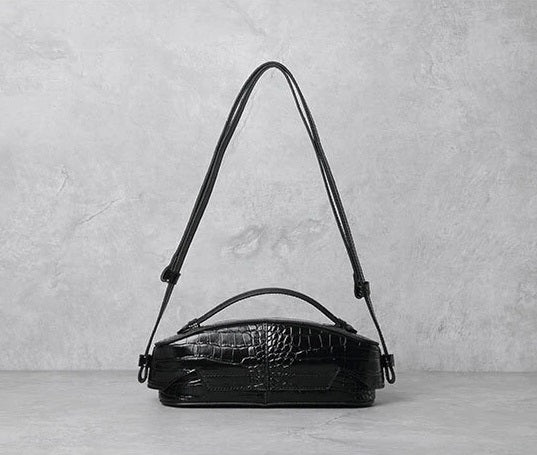 Black Croco Leather Side View