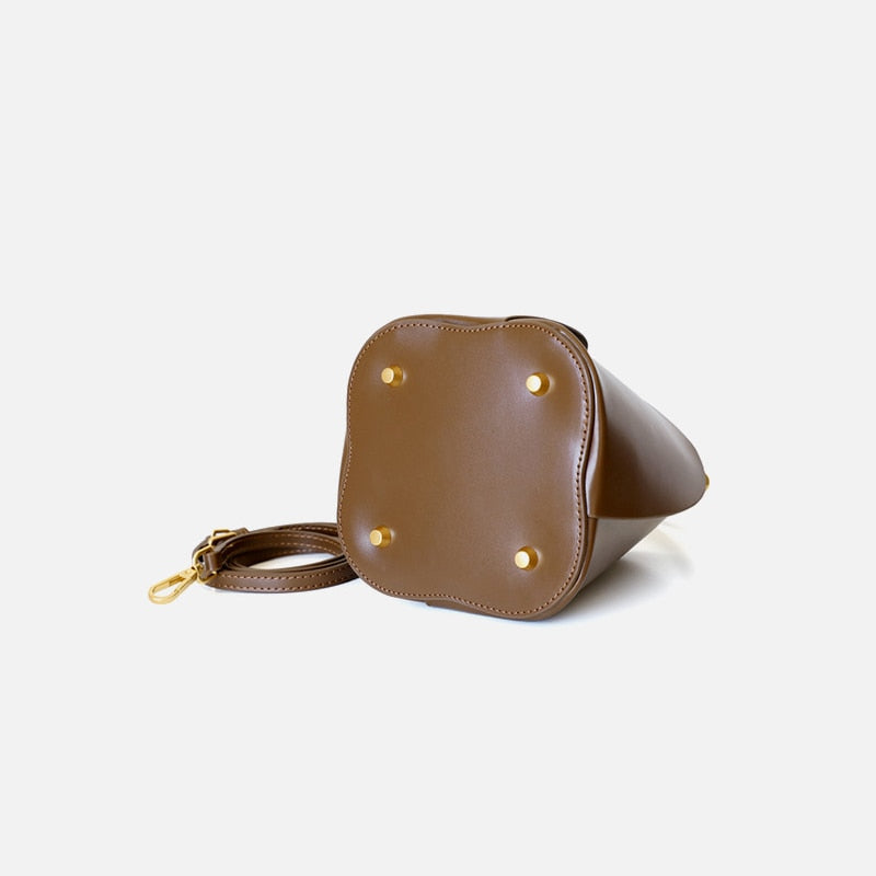 Brown Leather Bucket Bag Bottom Detail
