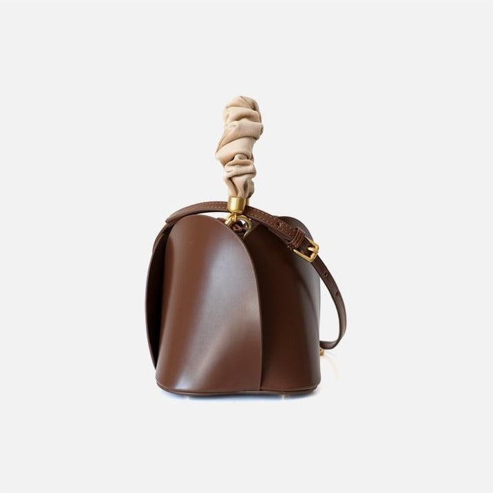 Brown Leather Bucket Bag Side View