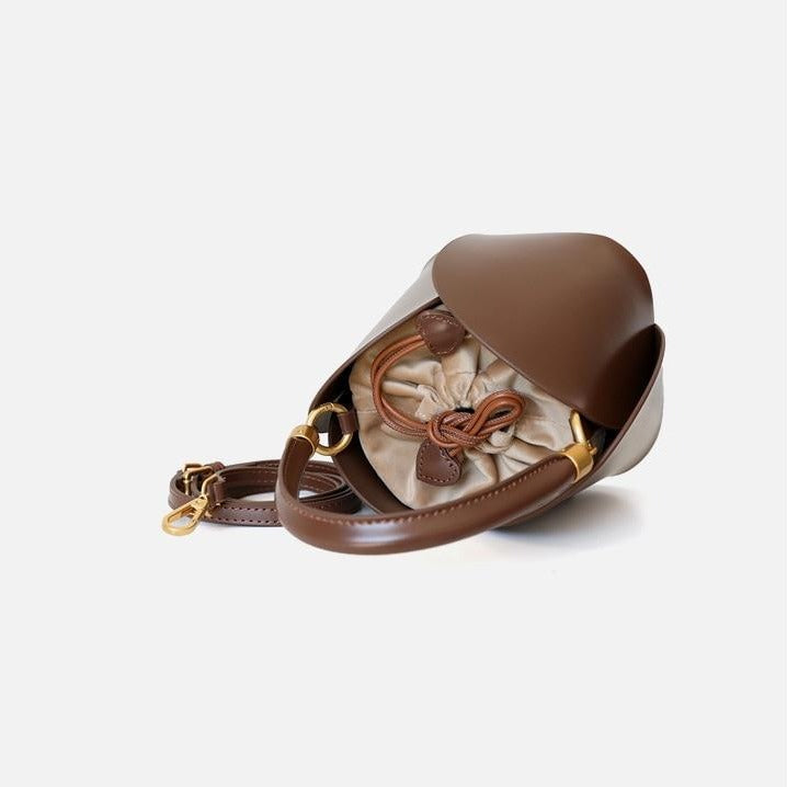 Brown Leather Bucket Bag Inside Detail