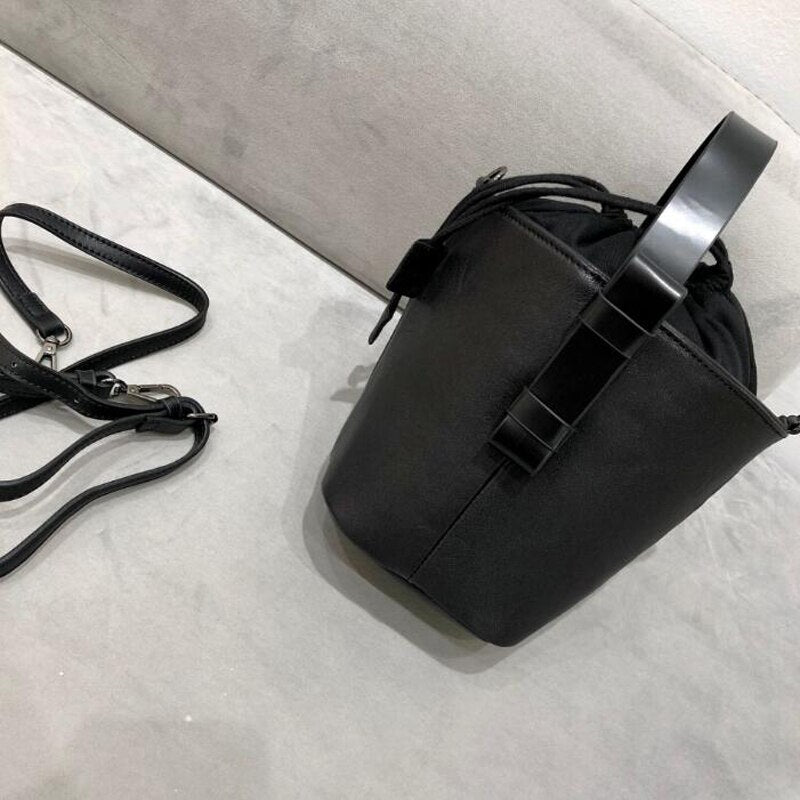 Black Leather Bucket Bag View