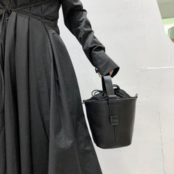 Black Leather Bucket Bag with Model